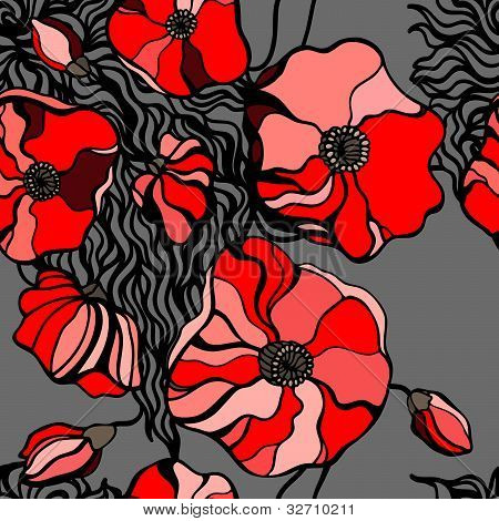 Red poppies on gray background. Seamless pattern