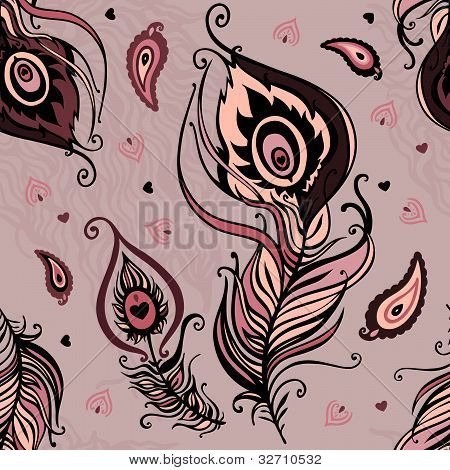 Pfauenfeder. Abstract seamless Pattern.