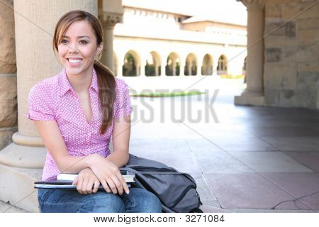 Pretty Young Woman On College Campus