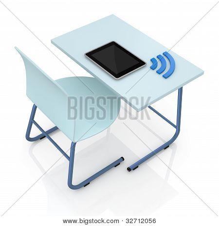 School Desk With Tablet
