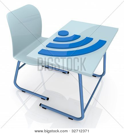 School Desk With Wireless Symbol