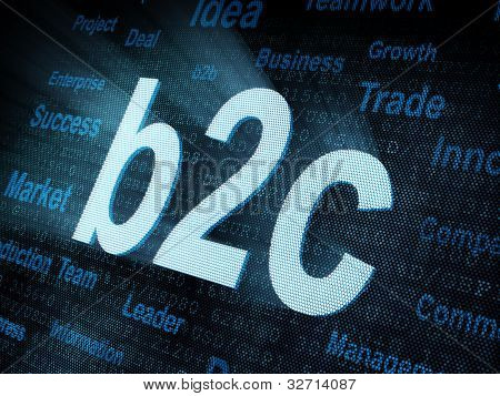 Pixeled Word B2C On Digital Screen