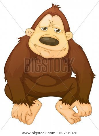 Illustration of a gorilla on white