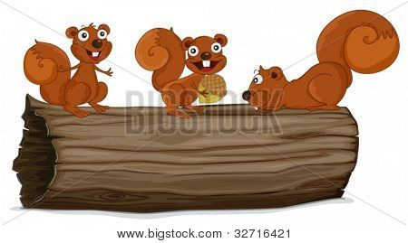 Illustraiton of squirrels on a log