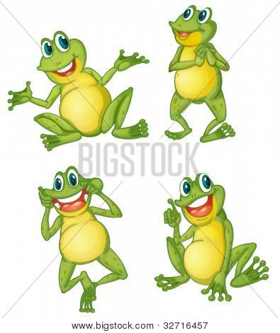 Illustraiton of green frogs on white
