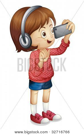 Illustration of a girl using a smart phone - EPS VECTOR format also available in my portfolio.