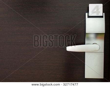 Hotel door with security lock