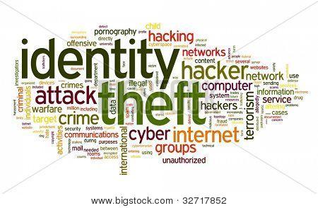 Concepto de robo de identidad en la palabra tag cloud aislado sobre fondo blanco