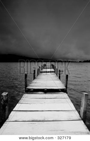 Jetty View In Black & White