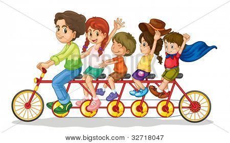 Family teamwork on a multiple seat bike - EPS VECTOR format also available in my portfolio.