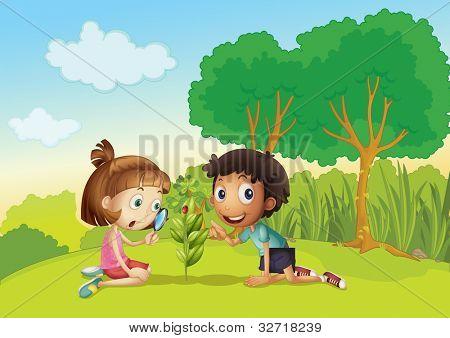 Crianças de ciência no Parque - formato VETORIAL EPS também disponível na minha carteira.