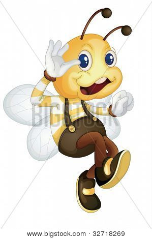 Cute bee waving on white - EPS VECTOR format also available in my portfolio.
