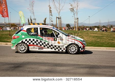 Castelo Branco, Portugal - March 10: Gil Antunes Drives A Peugeot 206 Gti During Rally Castelo Branc