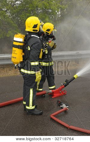 Firefighters cooling spray.