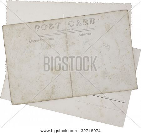 Reverse side of Old vintage postcards isolated with clipping path