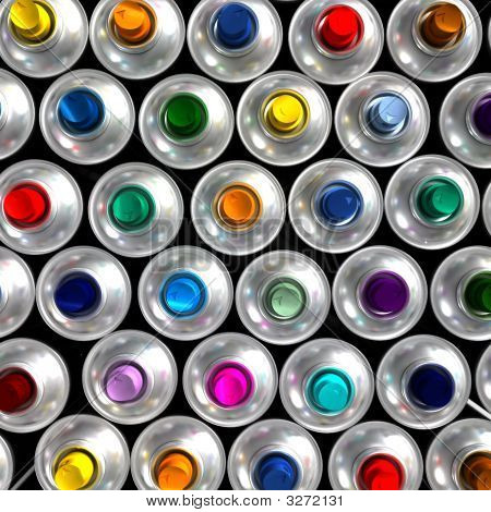 Aerial View Of Aerosol Cans