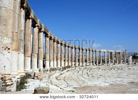 The oval plaza in Jerash