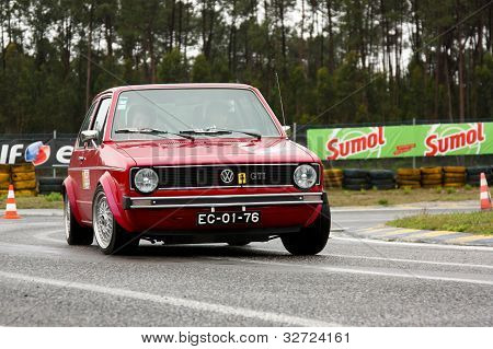 Leiria, Portugal - April 20: Paulo Silva Drives A Vw Golf Gti During Day One Of Rally Verde Pino 201