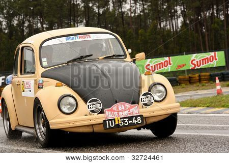 Leiria, Portugal - April 20: Fernando Maia Drives A Vw Sedan 1300 During Day One Of Rally Verde Pino