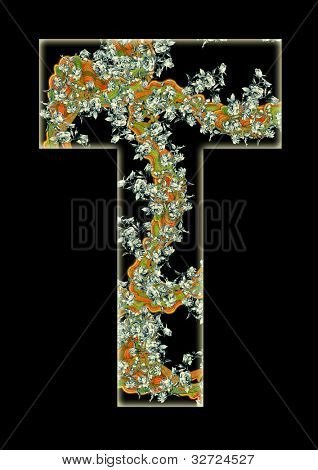 Vintage initials letter T in the style of Art Deco, after a old commercial paper of the Russian Empire, circa 1905.