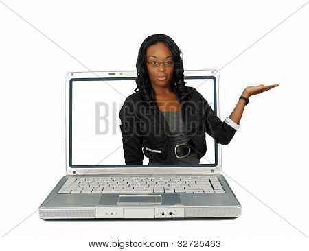 Beautiful Hostess On A Laptop Screen (1)