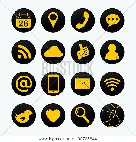Social Yellow Icons.
