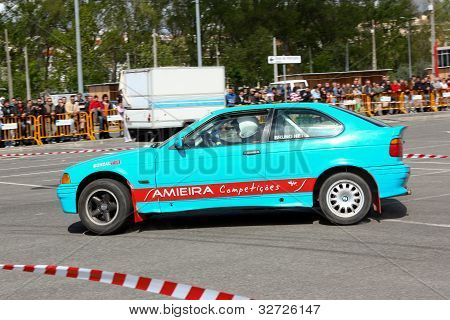 Leiria, Portugal - April 22: Bruno Neto Drives A Bmw 318 Compact During Leiria City Slalom 2012, In