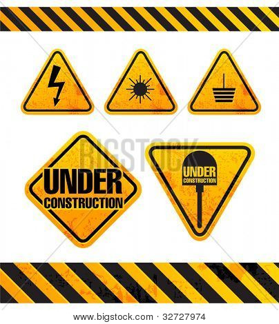 Grunge danger signs collection isolated on white