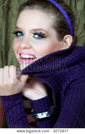 Blond Woman In Purple