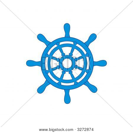 Blue Steering Wheel On A White Background
