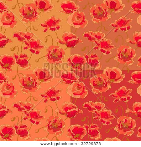 Four seamless pattern with poppy flowers