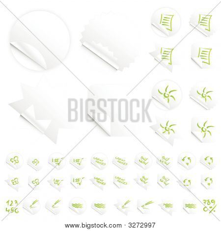 Glossy Modern White Slick Retail Stickers