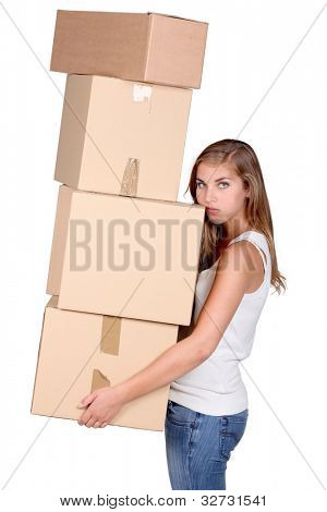 Young woman carrying a pile of boxes