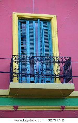 Colorful wall and balcony at La Boca in Buenos Aires