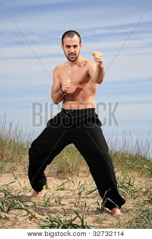 Young Male Fighter Exercise Outdoor