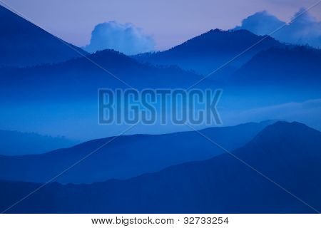 Mountains in an evening haze