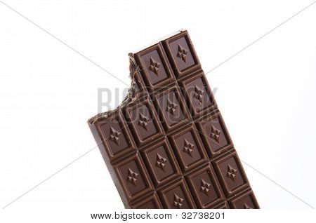 Bitten Chocolate Bar On White Background