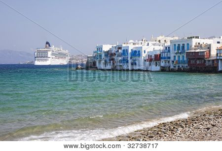 Little Venice On Mykonos Island, Greece.