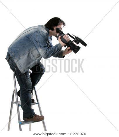 Isolado trabalhando Cameraman