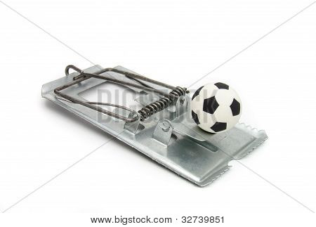 Soccer ball in a mousetrap