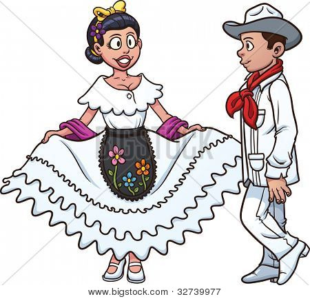 Mexican couple dancing. Vector illustration with simple gradients. Each in a separate layer for easy editing.