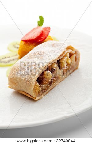 Dessert - Apple Strudel Served with Fruits Ice Cream