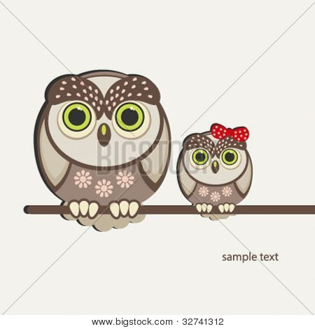 Owls birds background.