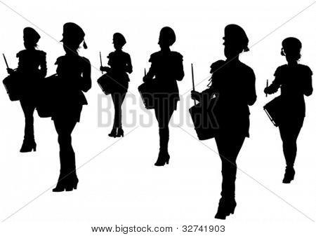Vektor-Bild von jungen Mädchen mit Trommeln