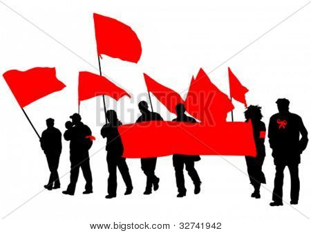 Vector drawing people whit red banner