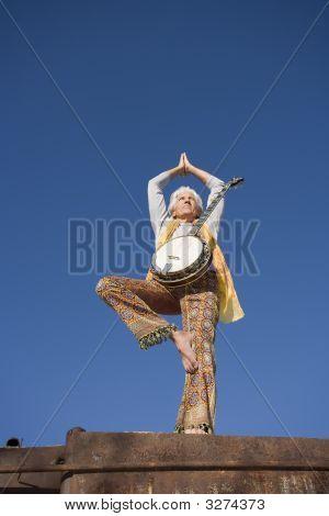 Banjo Player In A Yoga Pose