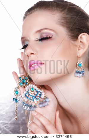 Blue Luxury And Blond Woman