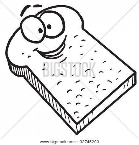 Pan tostado de dibujos animados