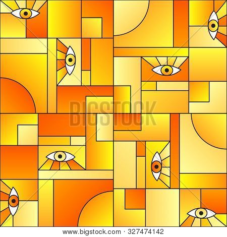 poster of Modular Pattern With Eyes In Geometric Shapes Grid Scandinavian Fashion Retro Textile Print. Patches