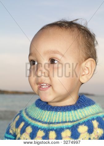 Toddler On Beach